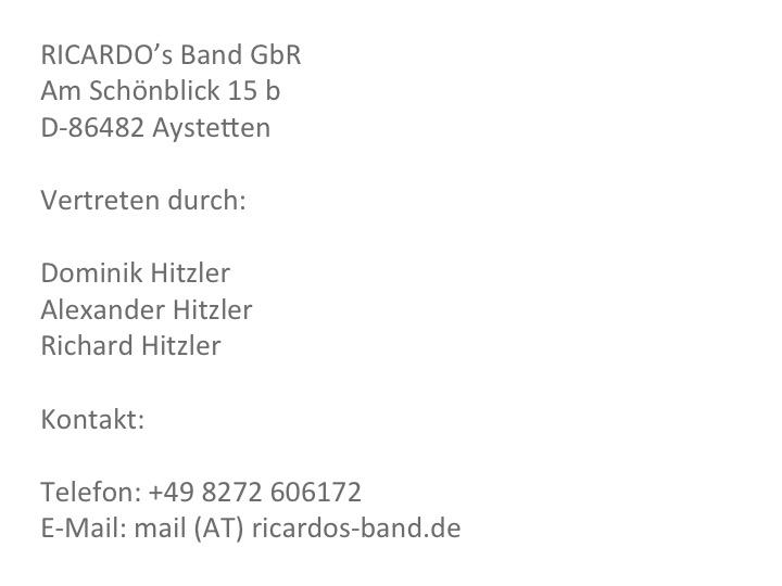 Hochzeitsband Bayern RICARDO's Impressum