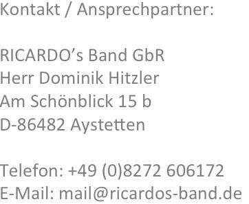 Kontakt - Hochzeitsband Bayern RICARDO's